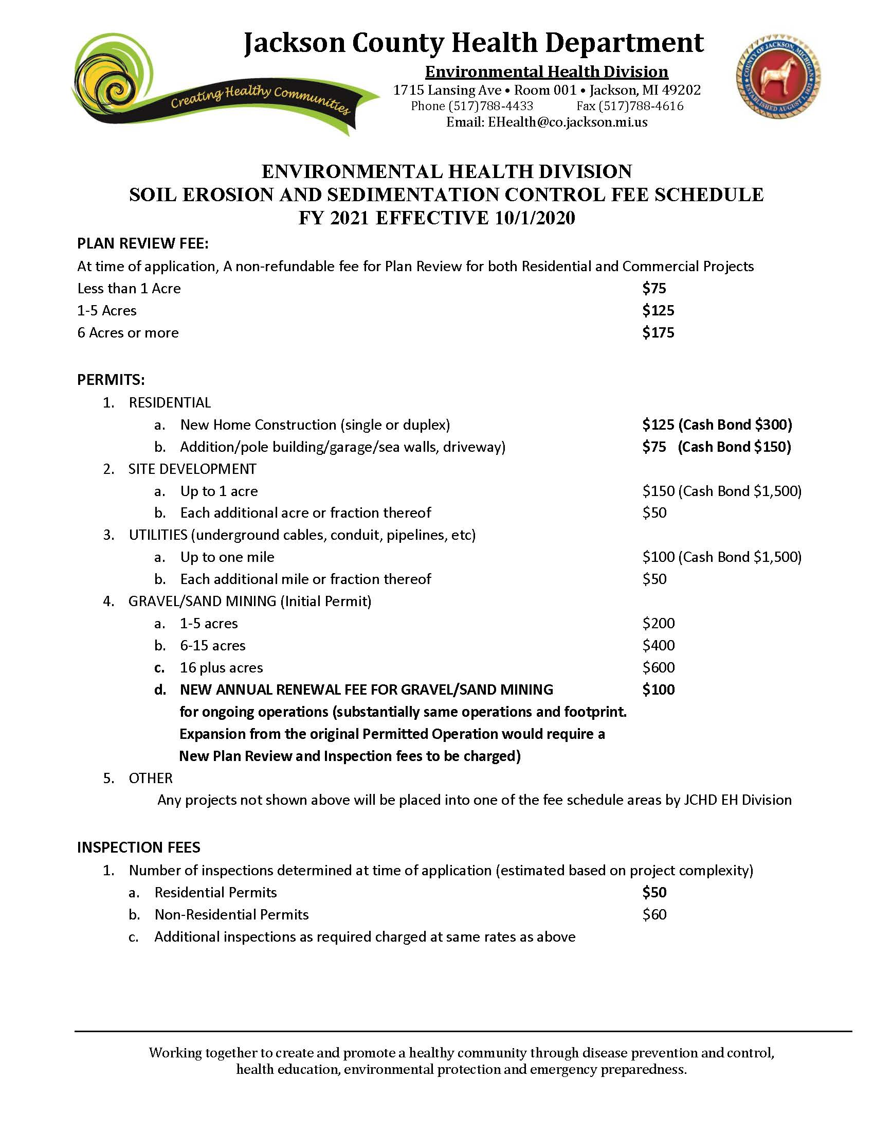 11012019 Soil Erosion Sedimentation Control Fee Schedule